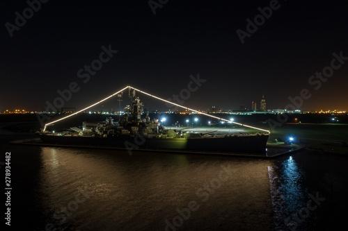 Canvas Print USS Alabama battleship at night