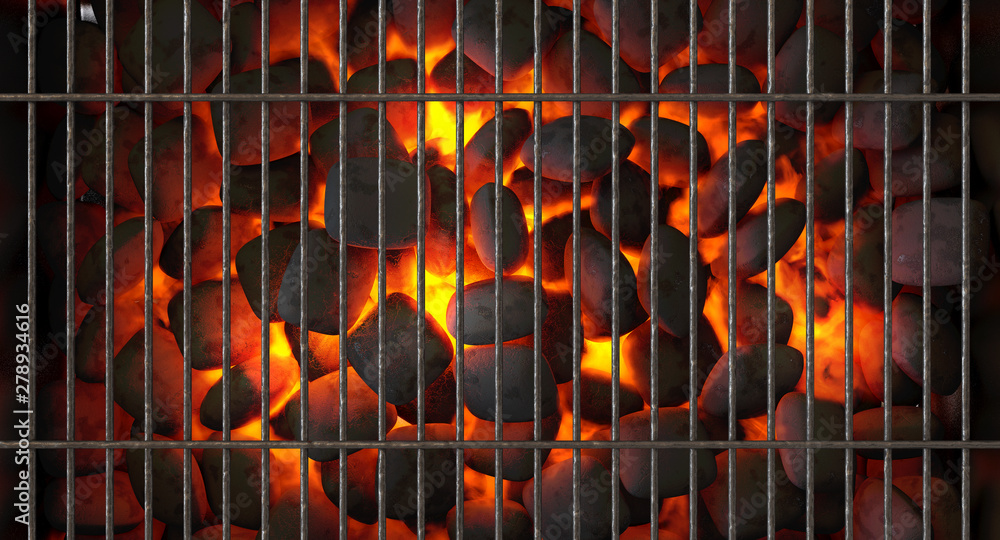 Fototapety, obrazy: Charcoal Fire And Grid