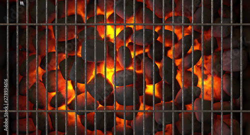Charcoal Fire And Grid Canvas
