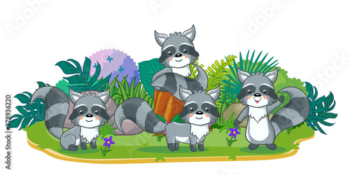 Wall Murals Cats raccoons are playing together in the garden