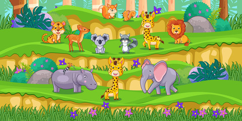 Happy animals cartoon in the park with green plants