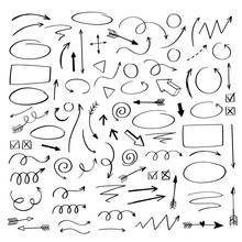 Vector Doodle Design Elements. Hand Drawn Arrows, Frames, Borders, Icons And Symbols. Cartoon Style Infographics Elements.