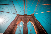 Structural Detail Of The Brooklyn Bridge With Blue Sky Background