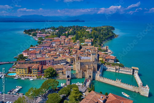 Aerial photography with drone, Rocca Scaligera Castle in Sirmione. Garda, Italy.