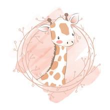 Adorable Giraffe Illustration ...