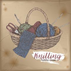 Vintage colror knitting bas...