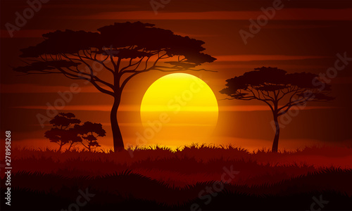 La pose en embrasure Marron Sunset in Africa. Savanna landscape vector illustration.