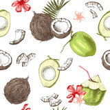Seamless pattern with green and ripe hand drawn coconuts and tropical flowers - 278963645