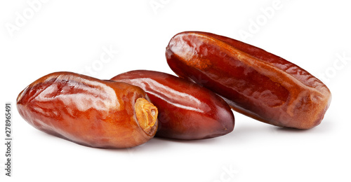 Dates on white, date palm tree fruit, healthy food concept - 278965491