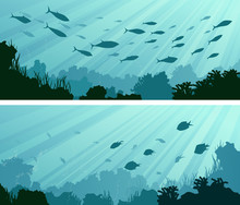 Horizontal Banners Of Seabed With Coral Reefs, Algae And School Of Fish.
