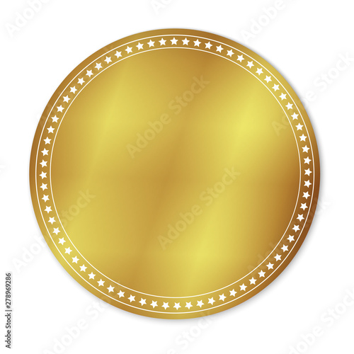 Photo  gold round sticker with space for text