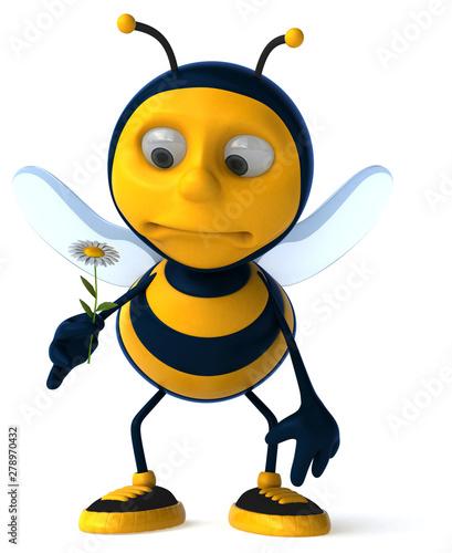 Fotoposter Eigen foto Fun bee - 3D Illustration