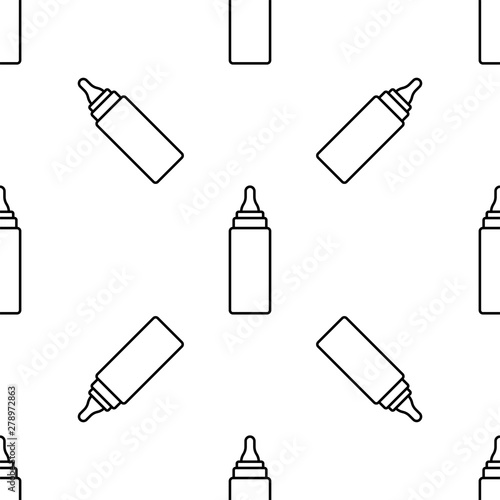 Fotografie, Obraz  Baby Bottle Icon Seamless Pattern, Milk, Water Bottle Icon
