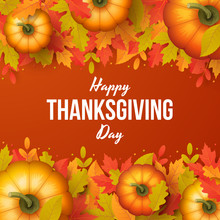 Happy Thanksgiving Day Background With Autumn Leaves And Pumpkins. Vector Illustration