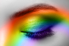 Colorful Rainbow Make-up On Woman Eye Studio Shot
