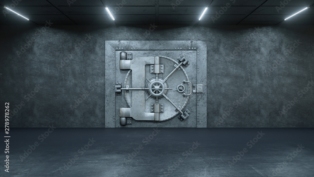 Fototapety, obrazy: 3d render The Vault Door In Bank