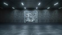 3d Render The Vault Door In Bank