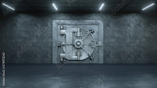 Fotografia  3d render The Vault Door In Bank