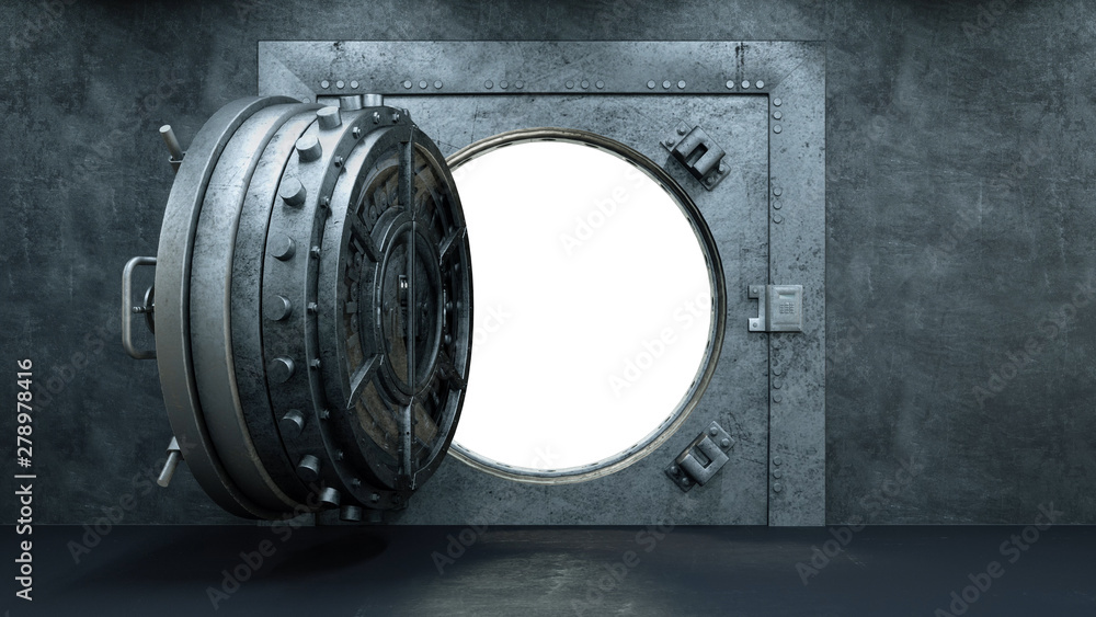 Fototapety, obrazy: 3d render Opening Of The Vault Door In Bank