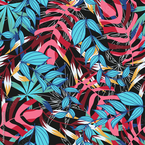 Deurstickers Paradijsvogel Bright abstract seamless pattern with colorful tropical leaves and plants on dark background. Vector design. Jungle print. Floral background. Printing and textiles. Exotic tropics. Fresh design.