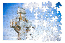 Patiently Building Of Faith - Celtic Carved Stone Cross Against A Sky Background - Concept Image In Puzzle Shape