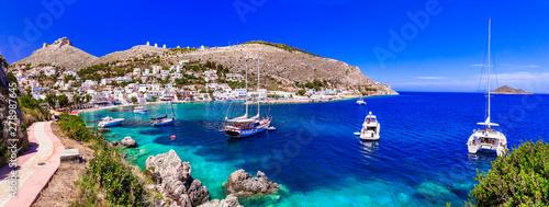 Deurstickers Graffiti collage Greek summer holidays - authentic Leros island view of beaiutiful bay Panteli. Dodekanese