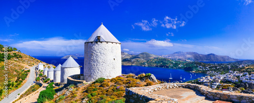 Montage in der Fensternische Dunkelblau Authentic traditional Greece - windmills of leros island.
