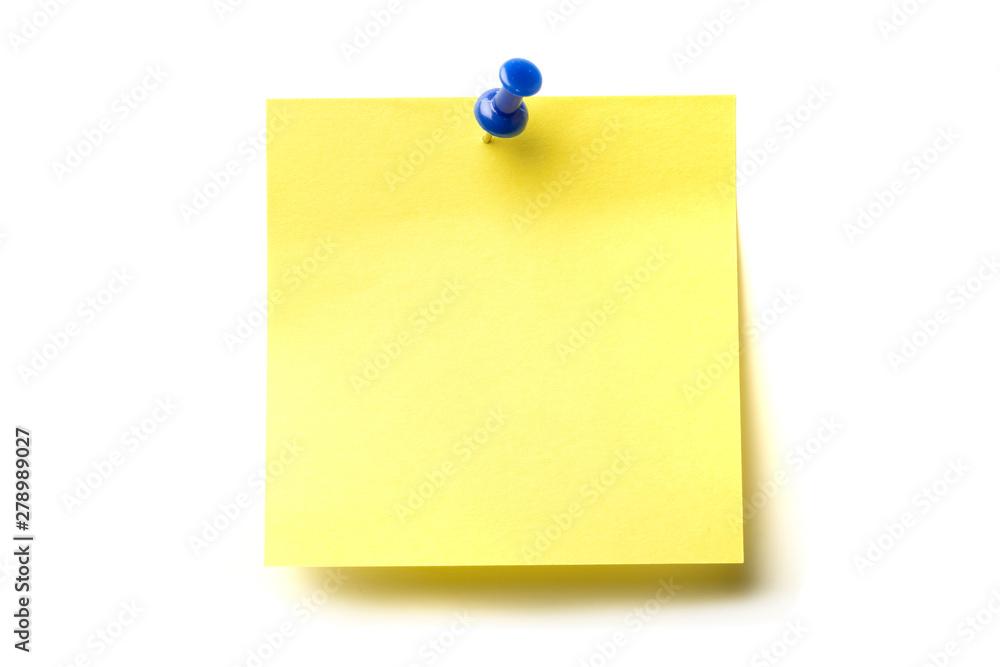 Fototapety, obrazy: Posit de color amarillo y marcador azul clavado sobre fondo blanco