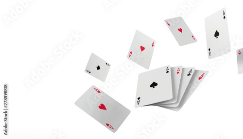 Fototapeta  Falling poker playing cards Casino Concept on isolated on white background - 3d