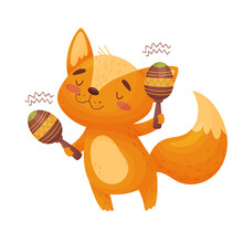 Cute Fox With Maracas. Vector Illustration On White Background.