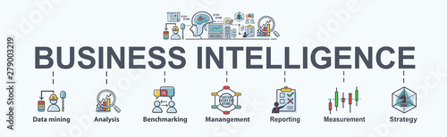 Papel de parede Business Intelligence banner web icon for business plan, data mining, analysis, Strategy, measurement, benchmarking, report and management