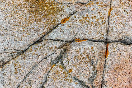 Natural cracks in granite rock at Acadia National Park, USA
