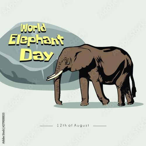 Photo  World Elephant Day, Elephant logo, elephant in zoos with stones bearing world el