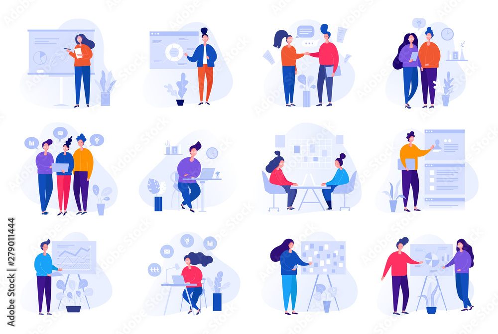Fototapety, obrazy: Collection of illustrations with people working in the office, making a presentation, negotiating and discussing business issues, developing ideas