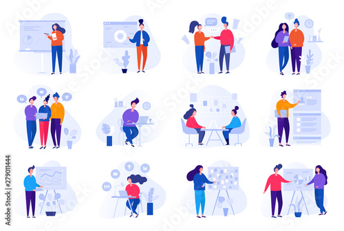 Valokuva  Collection of illustrations with people working in the office, making a presenta