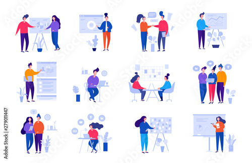 Fotomural  Collection of illustrations with people working in the office, making a presenta