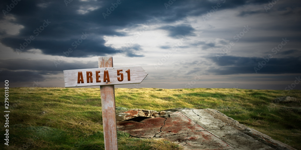 Fototapety, obrazy: landscape with area 51 sign