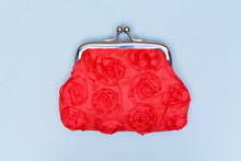 Red Purse On A Grey Background. Red Wallet For Coins