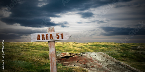 Deurstickers Europa landscape with area 51 sign