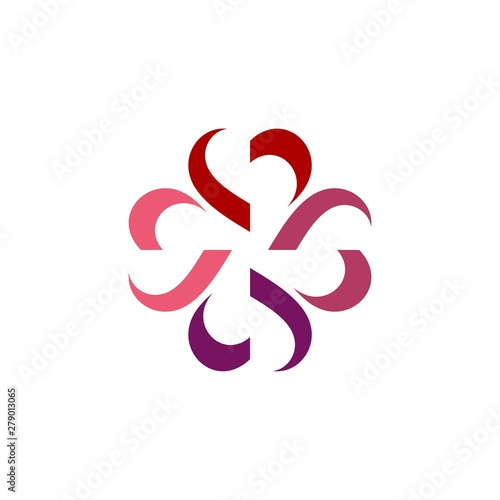 heart flower logo Illustration Design. Vector EPS 10.