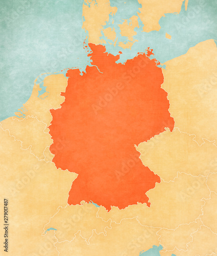 Canvas Print Map of Germany