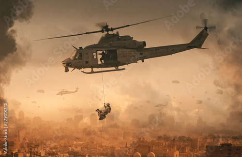 Photographie Military helicopter and forces with dog in destroyed city and soldiers are in fl