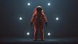 Leinwanddruck Bild - Astronaut in an Orange Space Suit with Black Visor Standing in a Alien Void 3d illustration 3d render