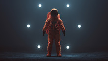 Astronaut In An Orange Space Suit With Black Visor Standing In A Alien Void 3d Illustration 3d Render