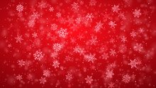 Christmas Background Of Complex Blurred And Clear Falling Snowflakes In Red Colors With Bokeh Effect