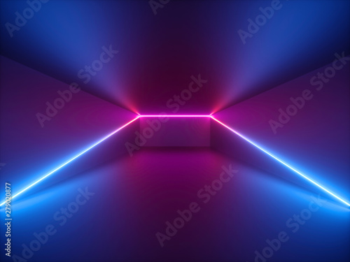 Deurstickers Graffiti collage 3d render, pink blue neon light, abstract background with glowing lines, cyber space in virtual reality, night club room interior, fashion podium or stage, empty corridor in ultraviolet spectrum
