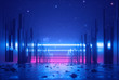 3d abstract neon background, glowing ultraviolet horizontal lines, cyber space, urban scene in virtual reality, empty street in fantastic city skyscrapers under the night sky, post apocalyptic concept