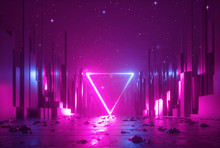 3d Abstract Neon Background, C...