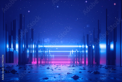 3d abstract neon background, glowing ultraviolet horizontal lines, cyber space, urban scene in virtual reality, empty street in fantastic city skyscrapers under the night sky, post apocalyptic concept - 279022016