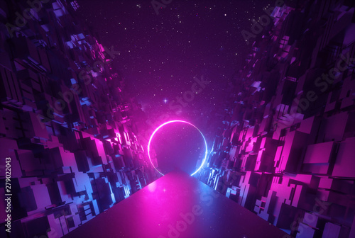 3d abstract neon background, glowing round portal in cyber space, ring shape, fantastic scene in virtual reality, road between walls of blocks under the night sky